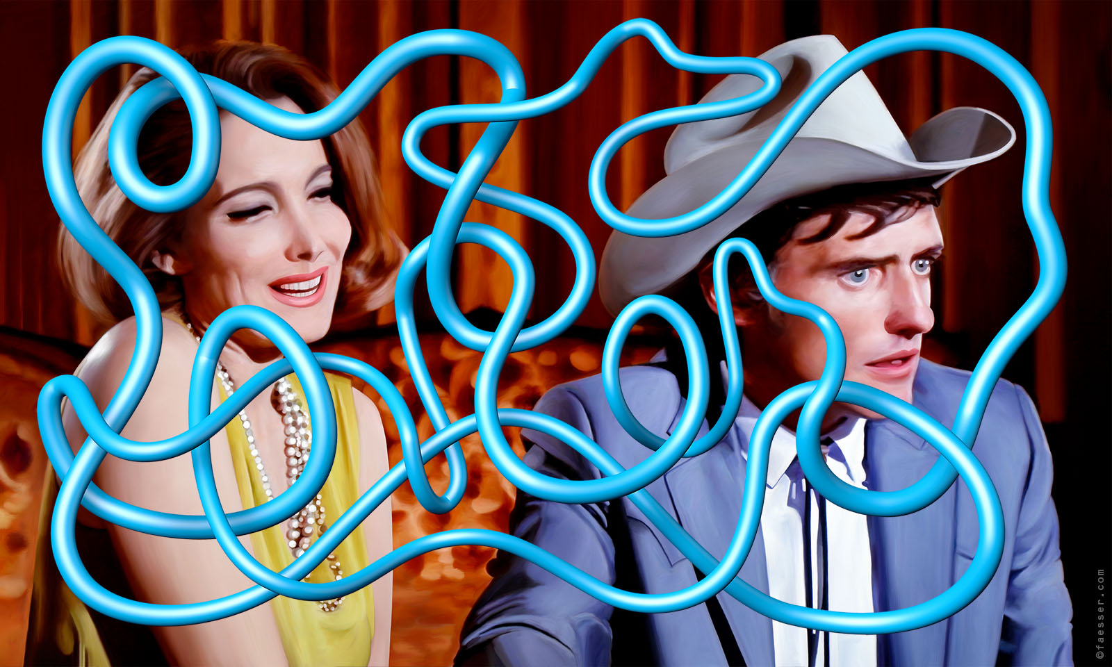 Blue endless tube line in front of Dennis Hopper and Julie Adams; artist Roland Faesser, sculptor and painter 2019