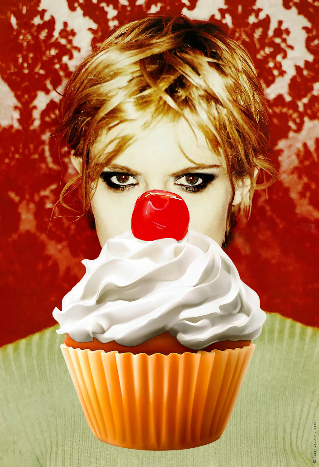 Female portrait with large cupcake in front; artist Roland Faesser, sculptor and painter 2020