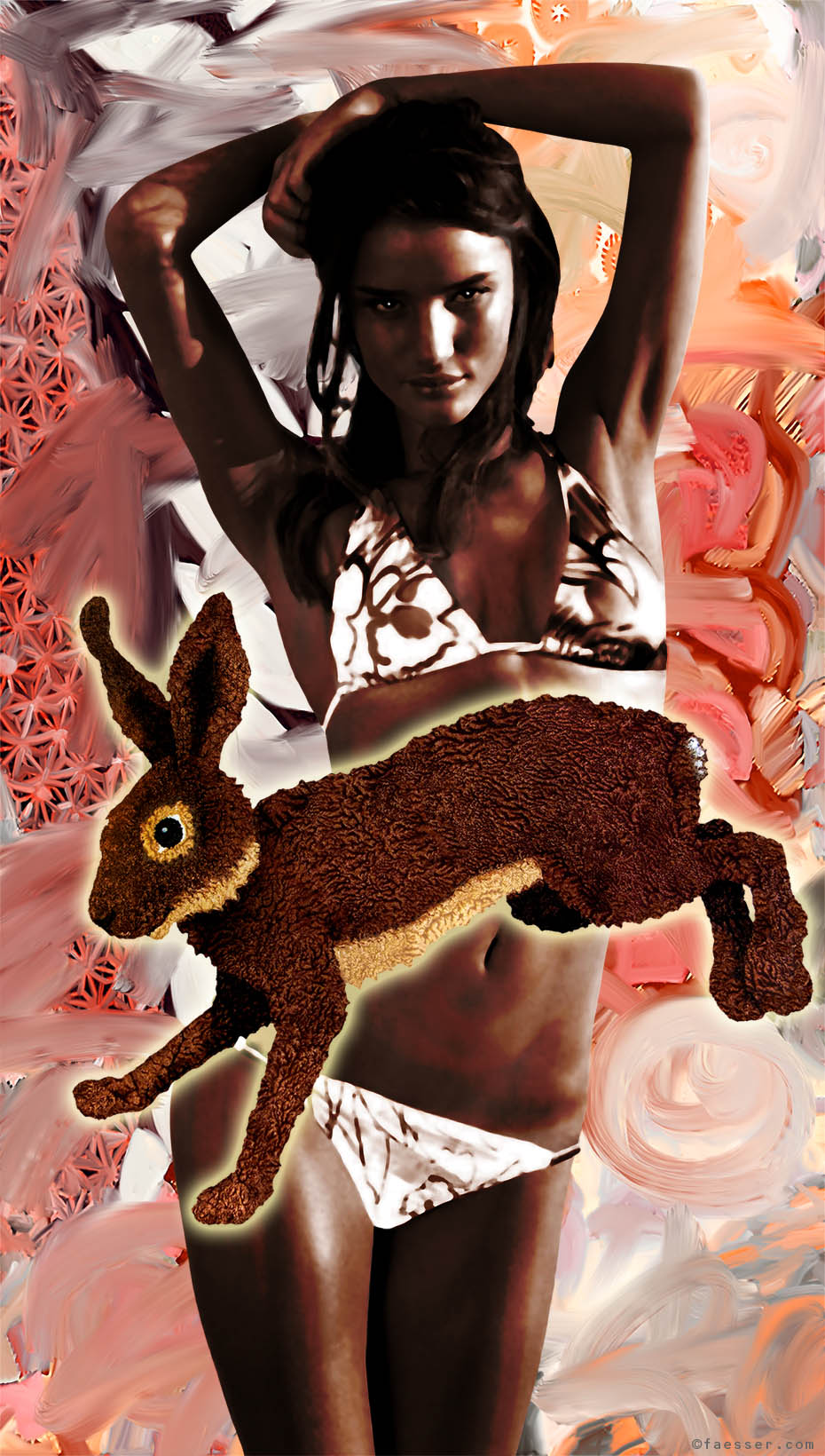 Posing Bikini Bunny with jumping hare; works of art; artist Roland Faesser, sculptor and painter 2013