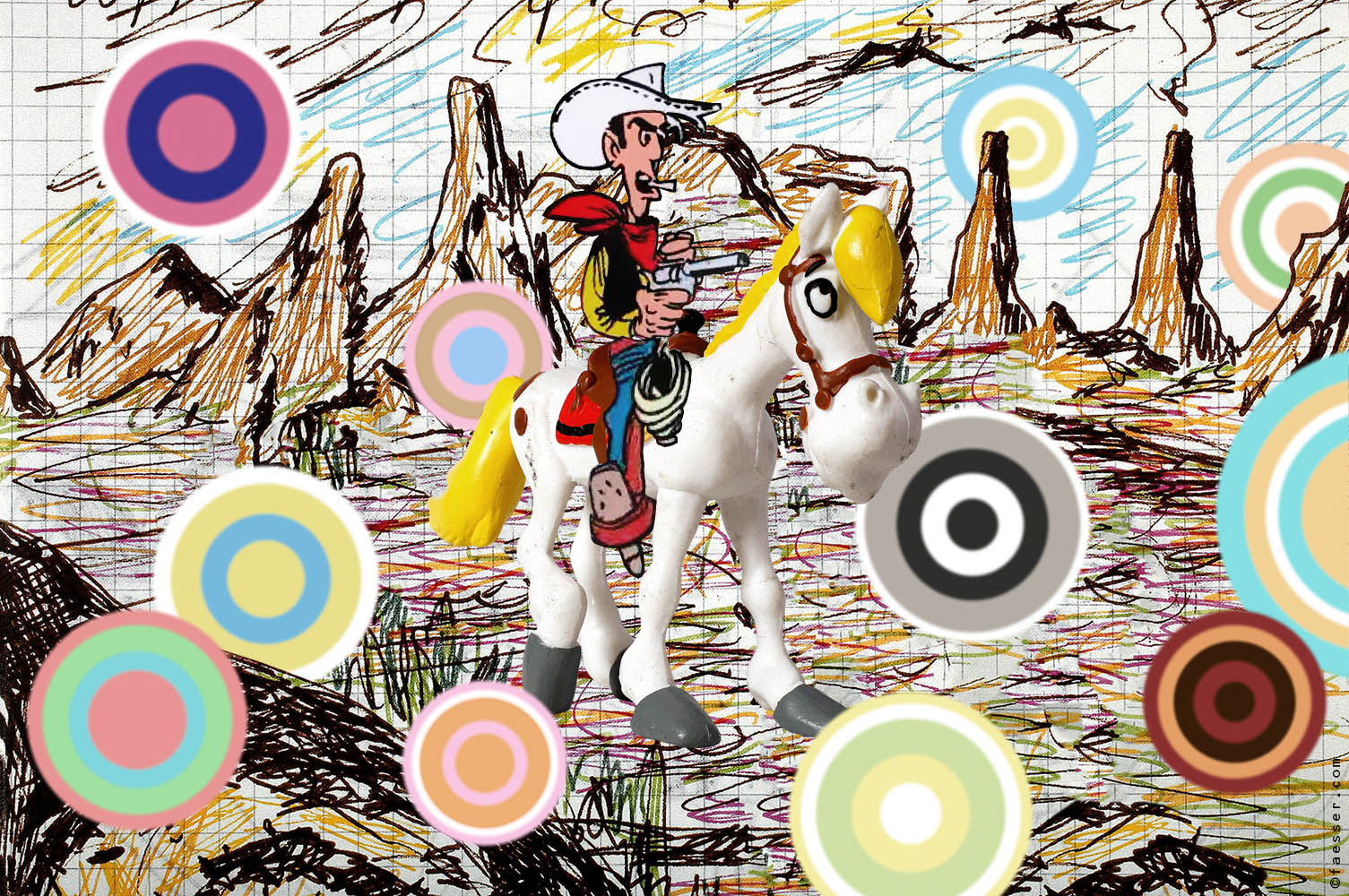Lucky Luke on his horse, shooting colored bubbles; artist Roland Faesser, sculptor and painter 2018