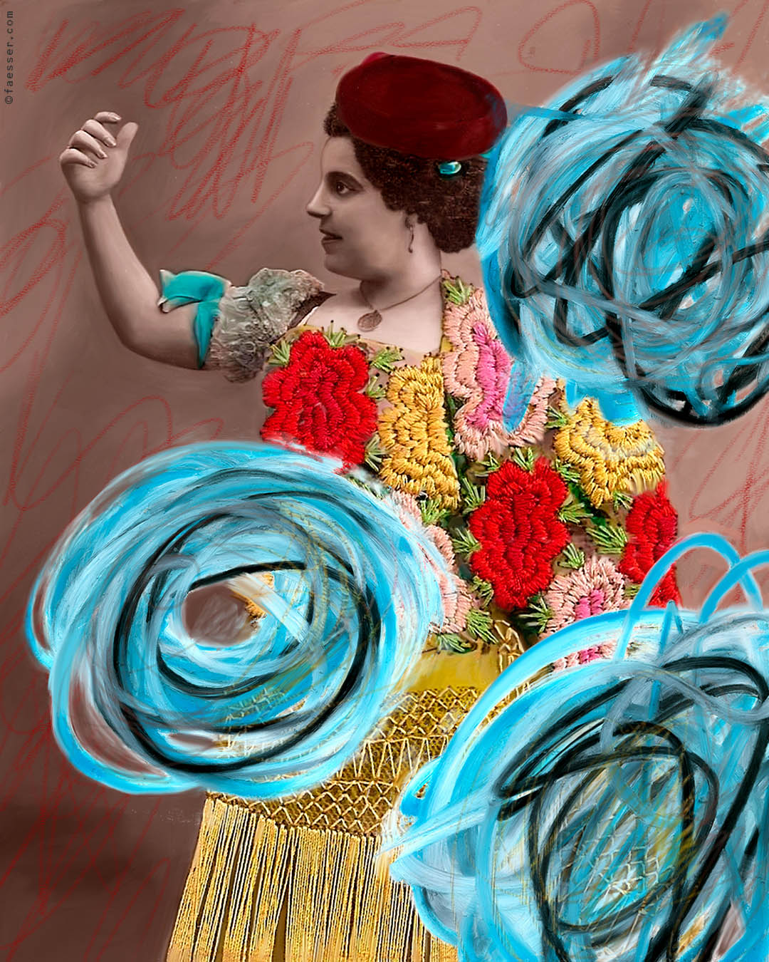 Flamenco: Embroidered grandma as a Flamenco dancer; artist Roland Faesser, sculptor and painter 2016