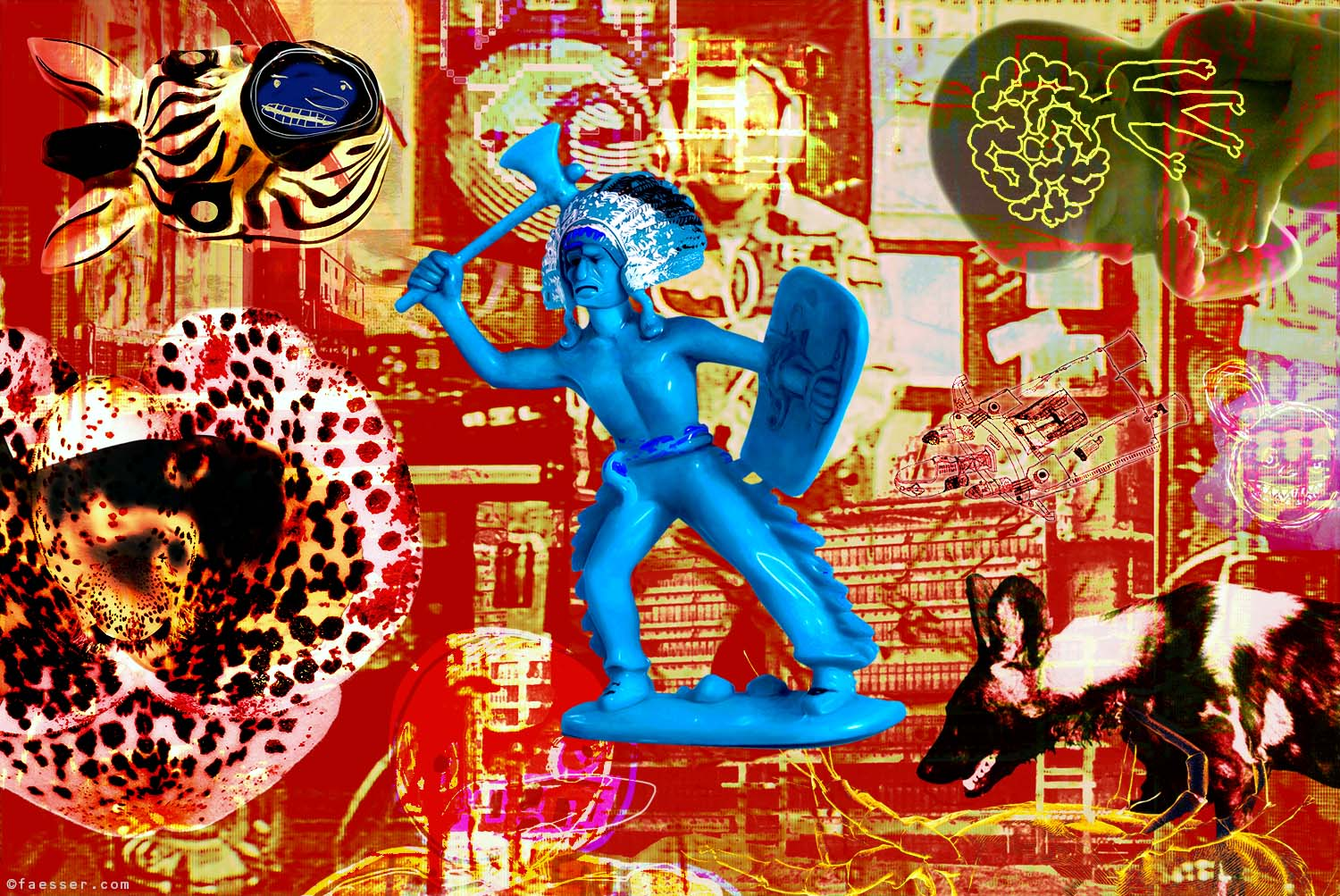 Blue indian toy figure amidst his natural environment; artist Roland Faesser, sculptor and painter 2013
