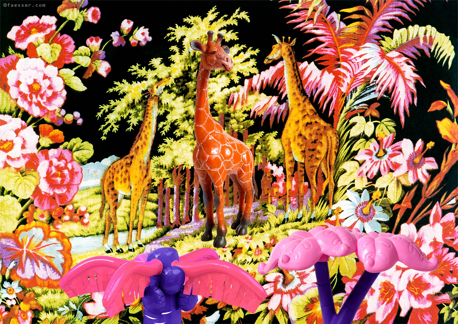 Digital overpainted Gobelin tapestry with three giraffes; artist Roland Faesser, sculptor and painter 2018