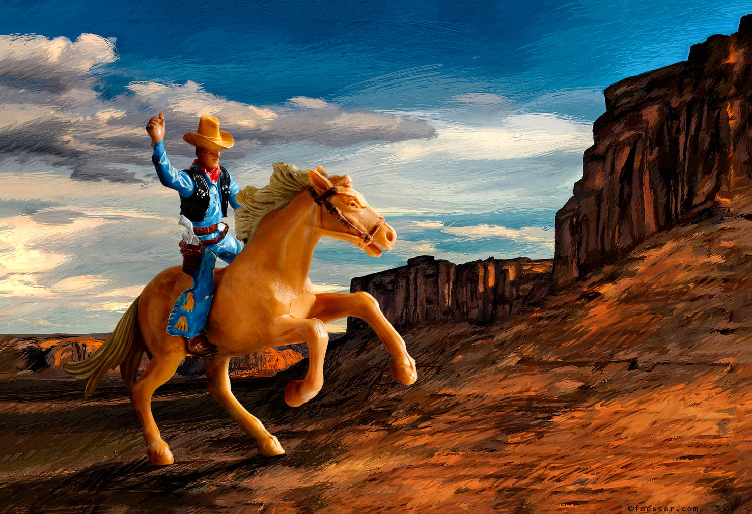 Plastic toy rider with horse, as analogy to the Marlboro ad in the Monument Valley; artist Roland Faesser, sculptor and painter 2013