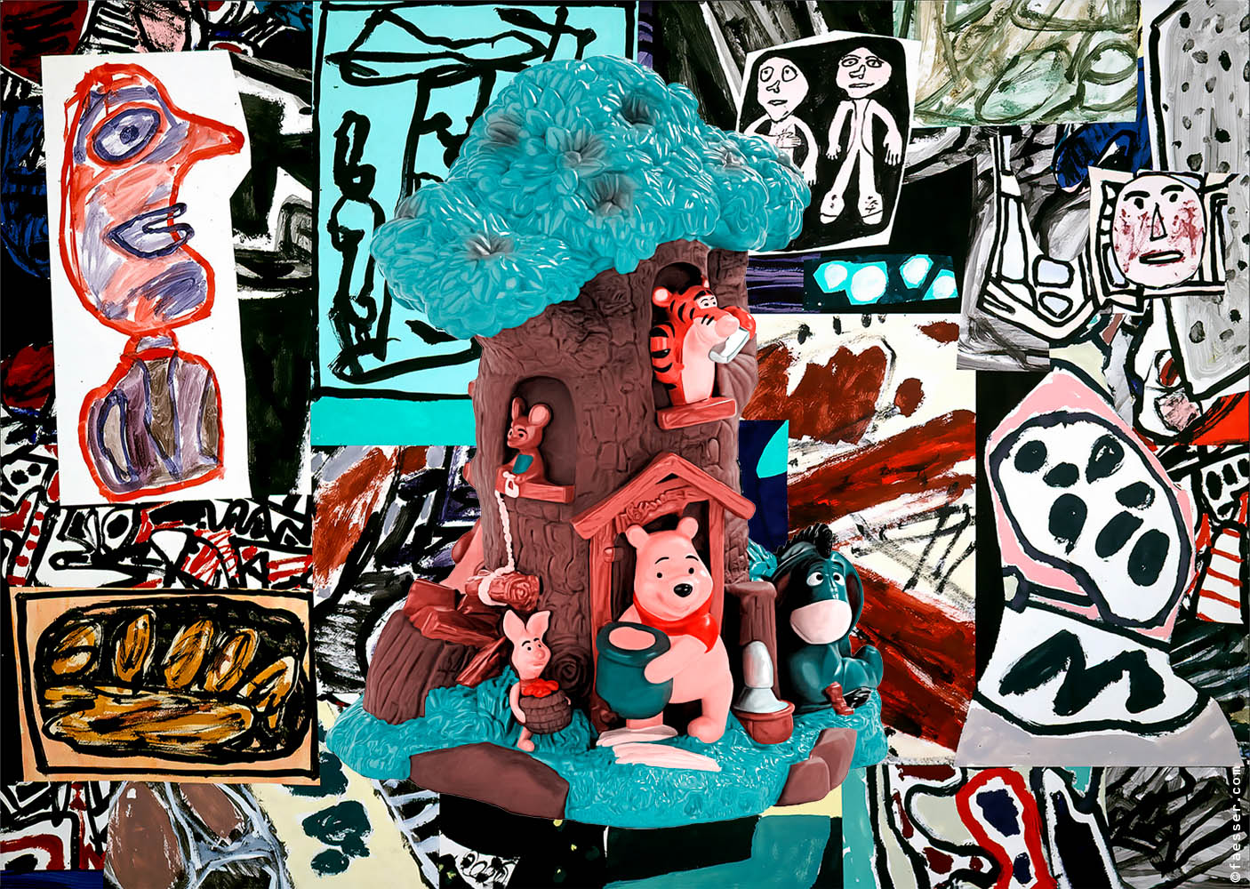 Plastic toy with Winnie the Pooh's friends and Jean Dubuffet's great painting; work of art as figurative painting; artist Roland Faesser, sculptor and painter 2018