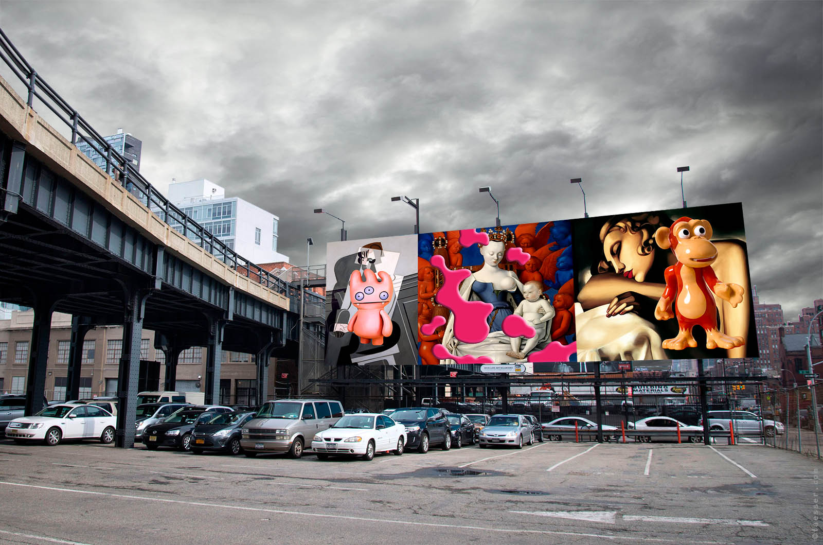 Masters triplets for the High Line Billboard in Chelsea, NYC; artist Roland Faesser, sculptor and painter 2017