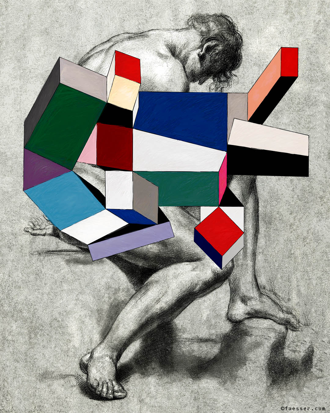 Unknown men's nude drawing with abstract geometric modules; work of art as figurative painting; artist Roland Faesser, sculptor and painter 2018
