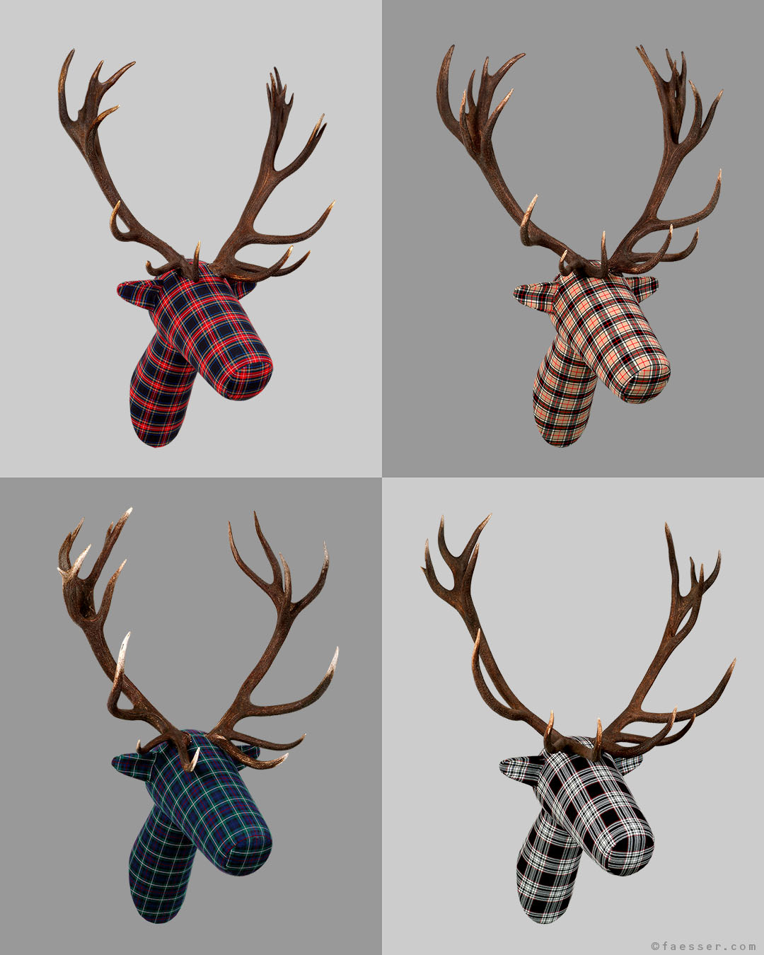 KARO 4/10: Abstract comic figures as tartan trophies with real antlers, Roland Faesser 2004