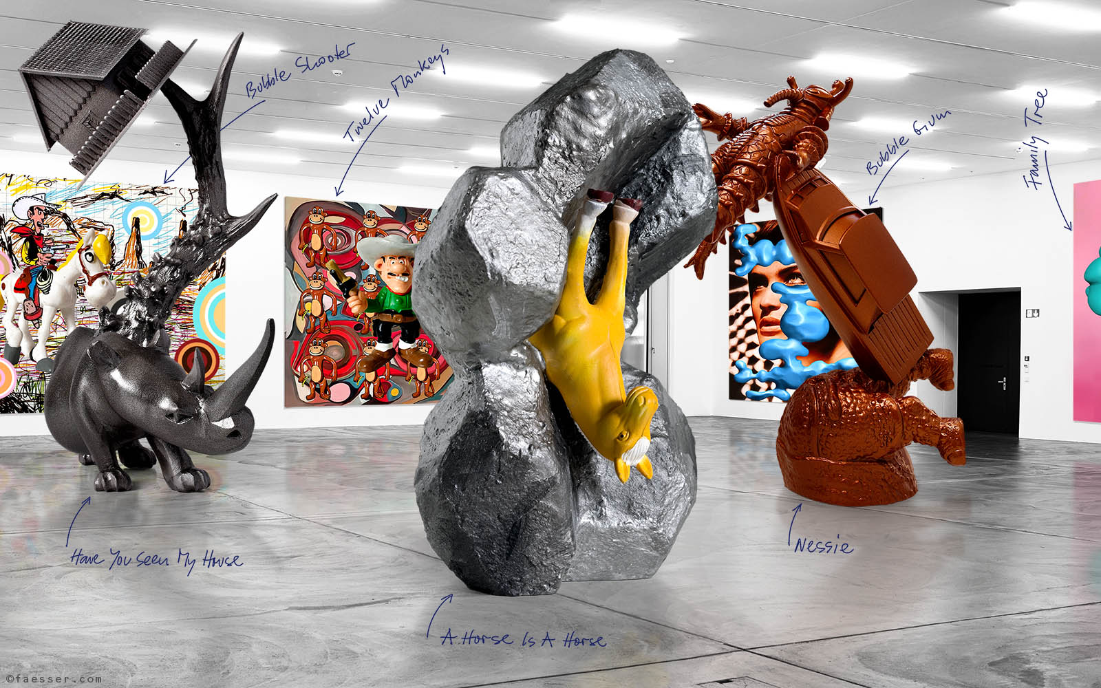 Virtual 3D exhibition at the Kunsthalle Zurich 01; artist Roland Faesser, sculptor and painter 2020