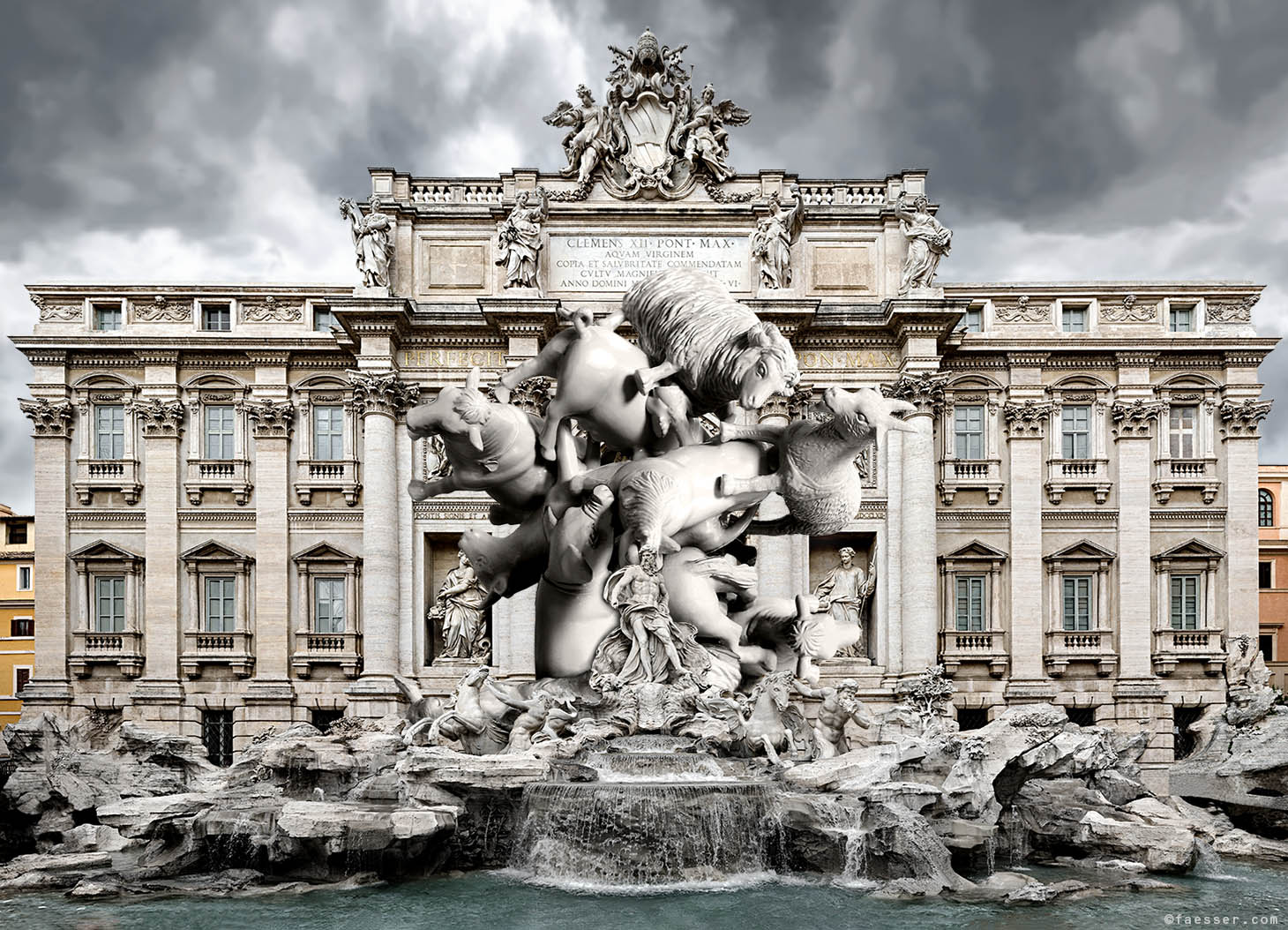 Massive Attack Rome: Landmark extension for Trevi Fountain in Rome; work of art as figurative sculpture; artist Roland Faesser, sculptor and painter 2016