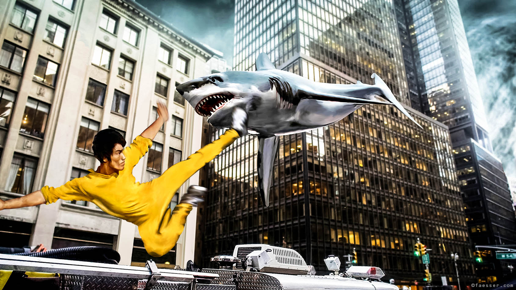 Bruce Lee is fighting against Sharknado in Manhattan; artist Roland Faesser, sculptor and painter 2016