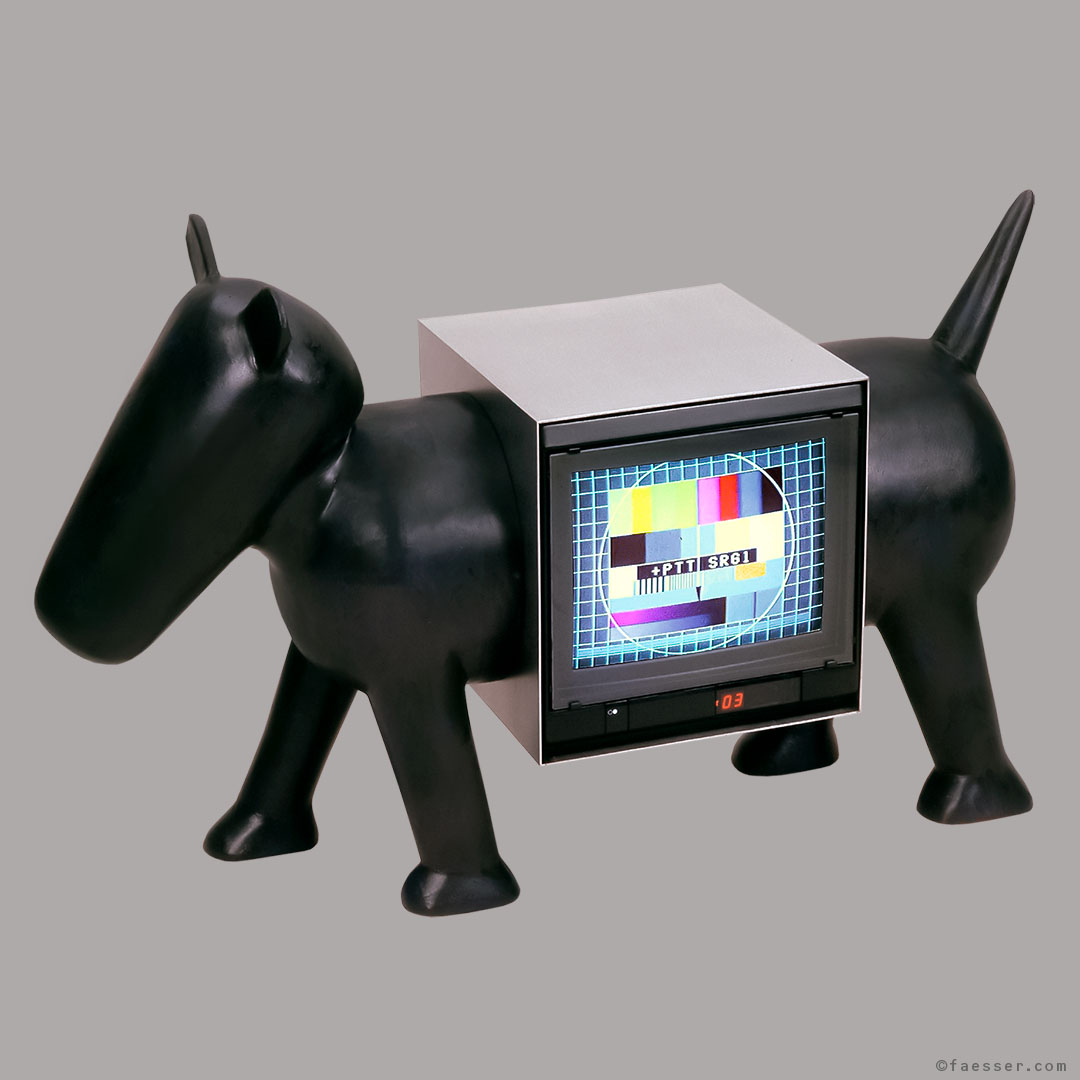 T.ier-V.ision: Abstract dog carrying a TV in his body; work of art; artist Roland Faesser, sculptor and painter 1988