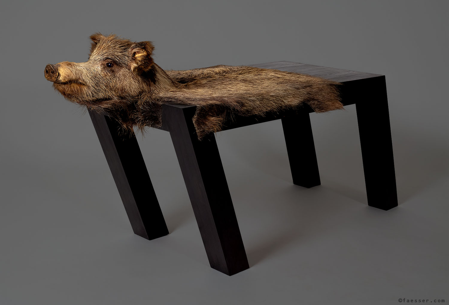 Functional side table sculpture with wild boar; work of art; artist Roland Faesser, sculptor 1987