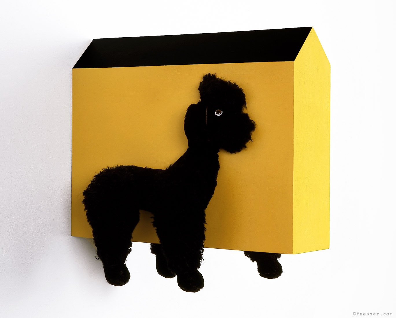 Halved plush poodle with central house; artist Roland Faesser, sculptor and painter 1999