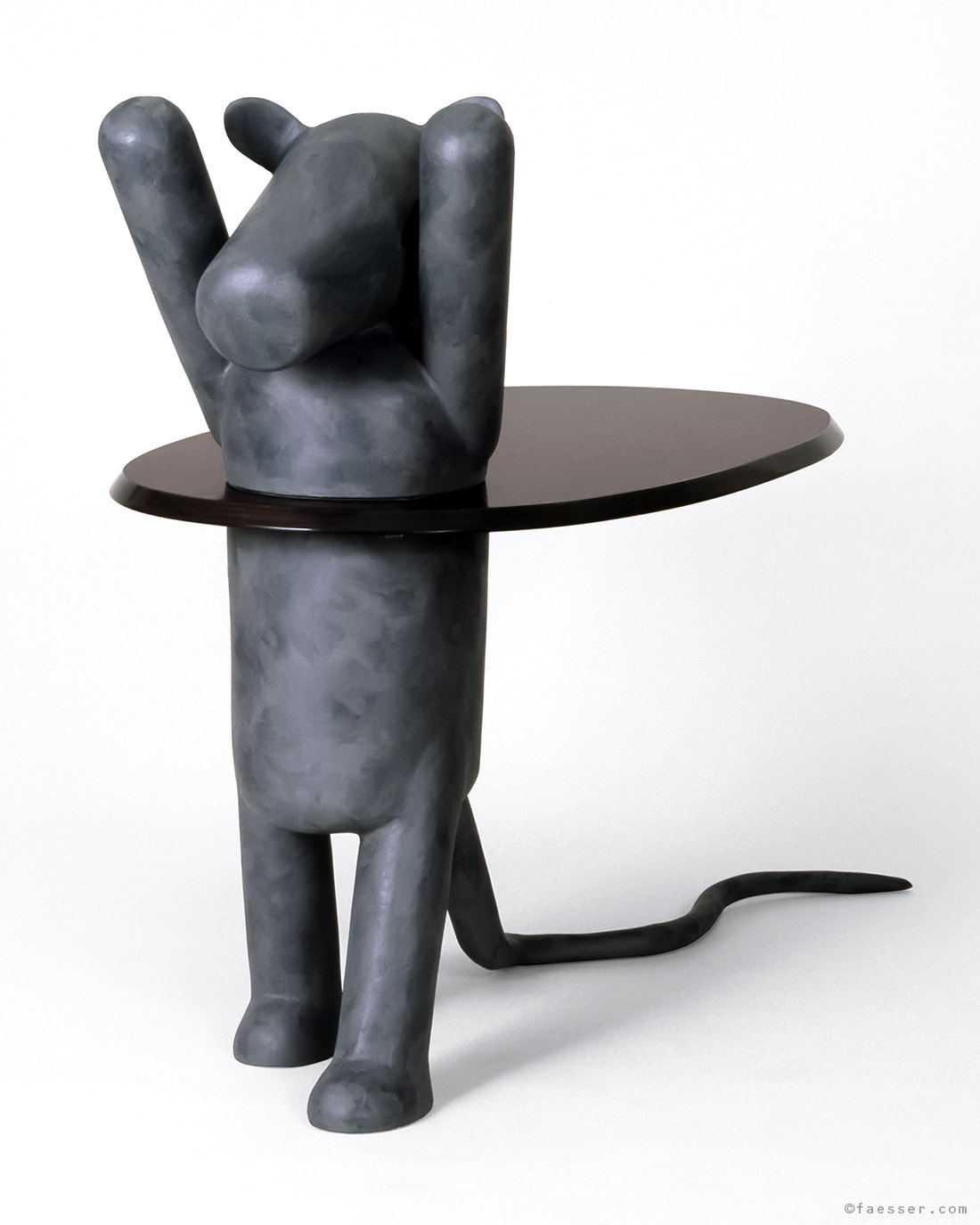 Abstract grey mouse with a hula hoop table on the hips; work of art; artist Roland Faesser, sculptor and painter 1988