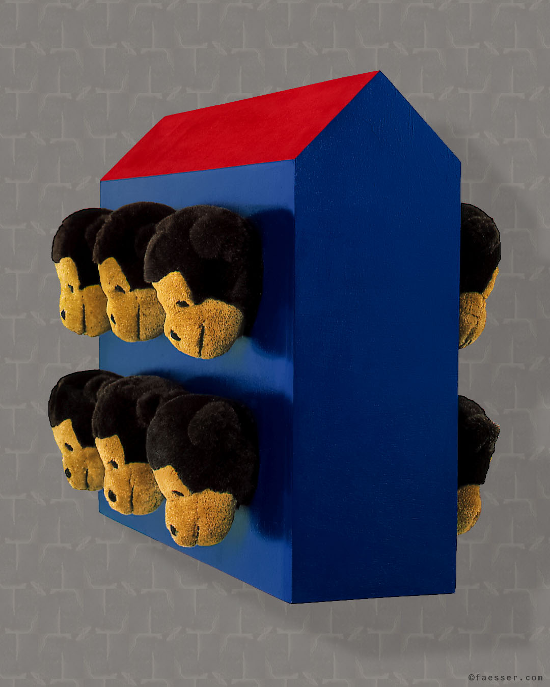 Twelve monkey heads flank the long side of an abstract house; artist Roland Faesser, sculptor and painter 1999