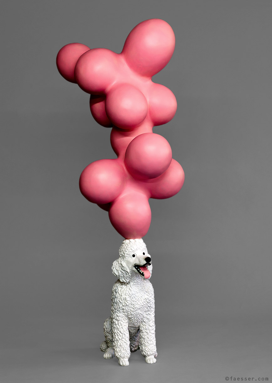 Big Balls: white poodle balances pink ballons sculpture as erotic metaphor and thoughts; work of art as figurative sculpture; artist Roland Faesser, sculptor and painter 2012