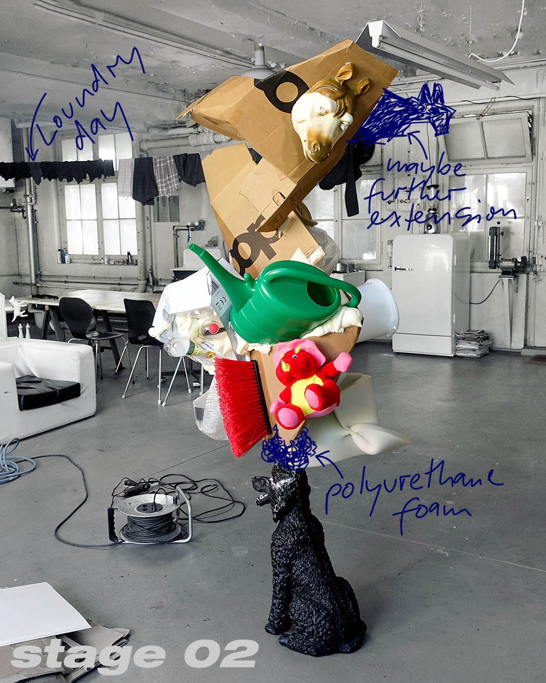 Stage two of the poodle balancing an abstract sculpture of waste on his head; work of art; artist Roland Faesser, sculptor and painter 2019