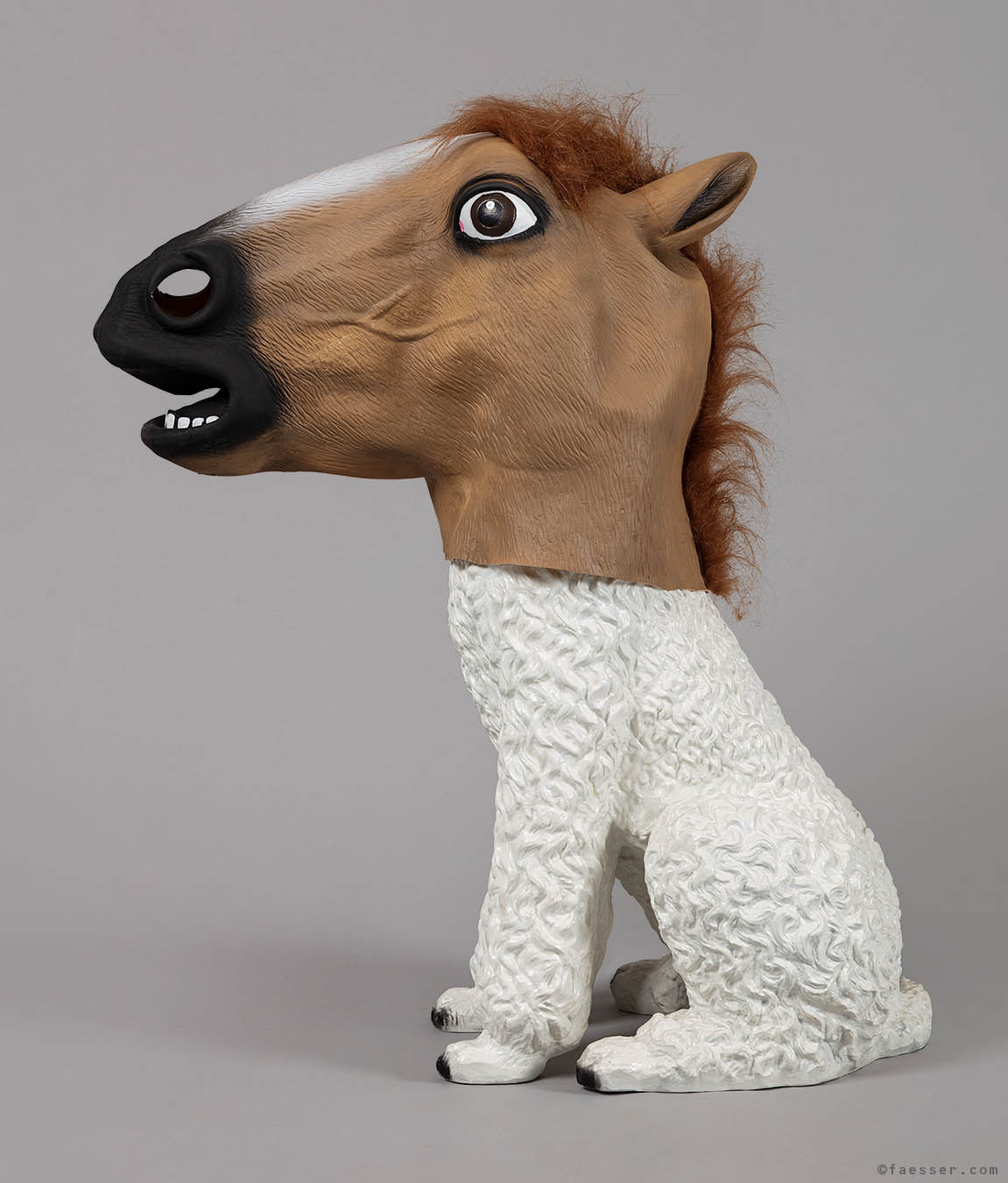Poodle sculpture with trojan like horse mask; works of art as figurative sculptures; artist Roland Faesser, sculptor and painter 2019