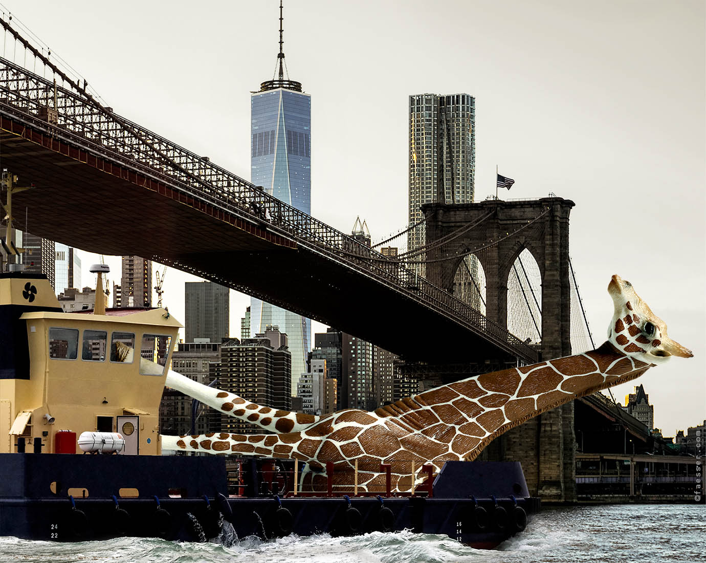 Public giraffe sculpture shipping on the East River in NYC; artist Roland Faesser, sculptor and painter 2018