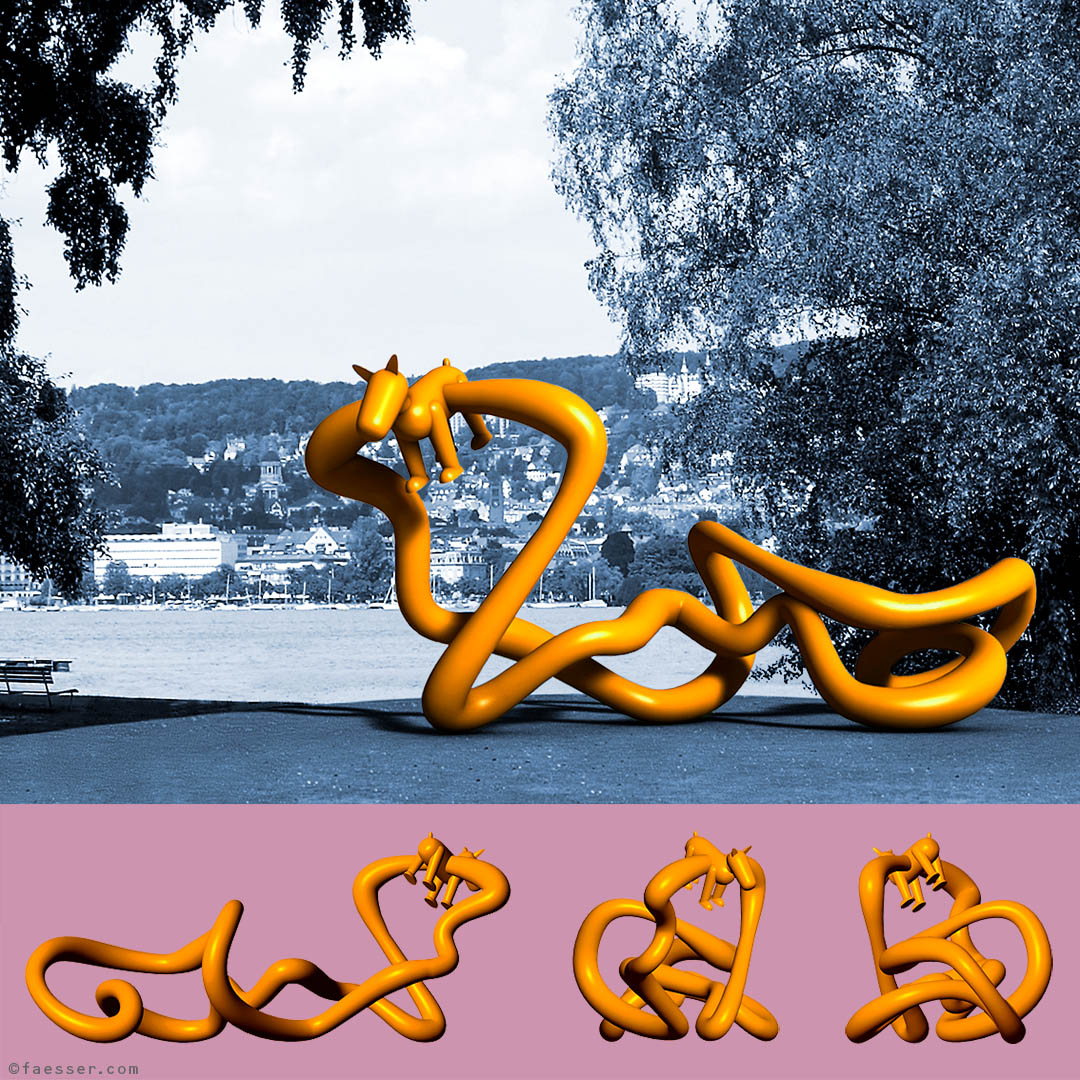 Leash With Dog; Invited Competition for a public landmark at seaside resort Mythenquai Zurich; works of art as figurative sculptures and digital paintings; artist Roland Faesser, sculptor and painter 2010