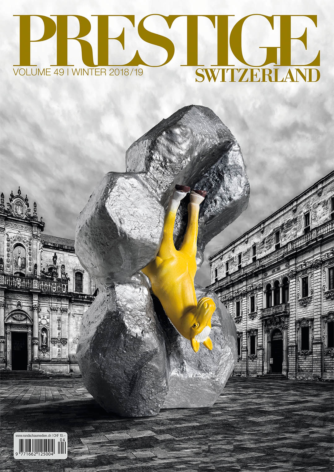 Cover PRESTIGE magazine volume 49, 2018; work of art as public sculpture; artist Roland Faesser, sculptor and painter 2018