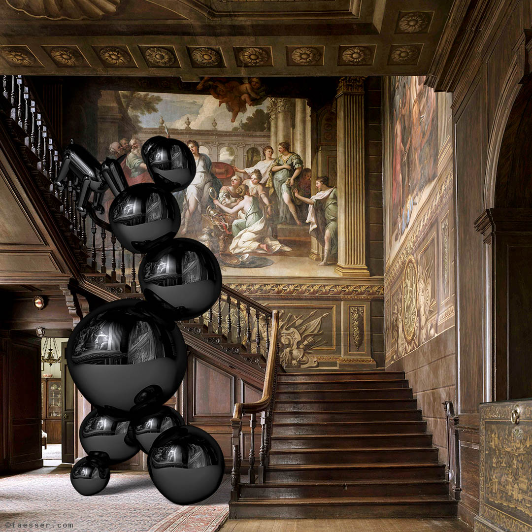 Black polished chrome steel balls sculpture with dog for Hanbury Hall in Worcestershire; work of art as figurative sculpture; artist Roland Faesser, sculptor and painter 2018