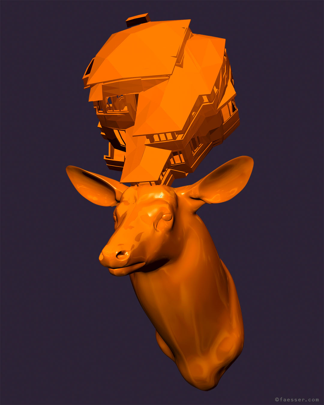 Orange deer trophy with a splitted house as antlers; work of art as figurative sculpture; artist Roland Faesser, sculptor and painter 2017