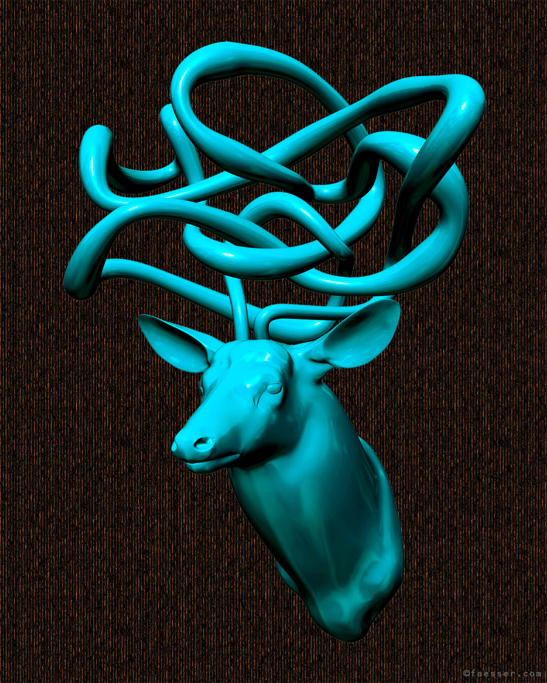 Abstracte tube sculpture as deer antlers; work of art as figurative sculpture; artist Roland Faesser, sculptor and painter 2019