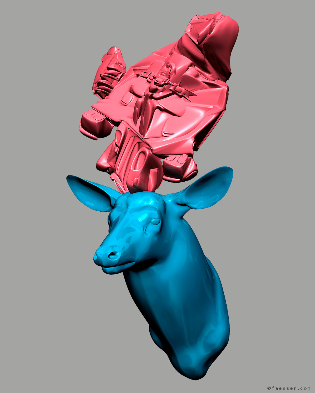 Recycling: Light blue deer trophy with melt packaging as antlers; work of art as figurative sculpture; artist Roland Faesser, sculptor and painter 2017